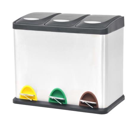 vidaXL Cubo de reciclaje y basura con pedal acero inoxidable 3x8 L[1/5]