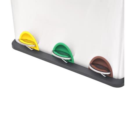 vidaXL affaldsbeholder til genbrug med pedal rustfrit stål 3 x 8 L[3/5]