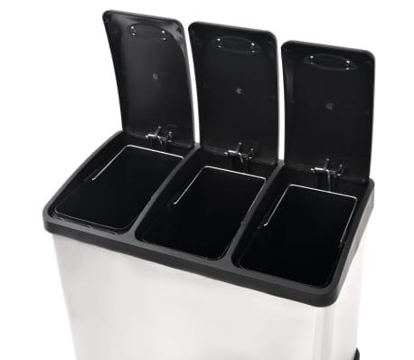 vidaXL affaldsbeholder til genbrug med pedal rustfrit stål 3 x 8 L[5/5]