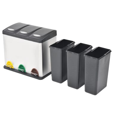 vidaXL affaldsbeholder til genbrug med pedal rustfrit stål 3 x 8 L[2/5]