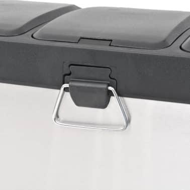 vidaXL Cubo de reciclaje y basura con pedal acero inoxidable 3x8 L[4/5]
