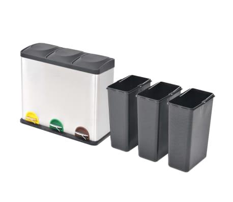 vidaXL Pedálový odpadkový kôš na triedený odpad, nerezová oceľ, 3x18 l[2/5]