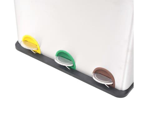 vidaXL affaldsbeholder til genbrug med pedal rustfrit stål 3 x 18 L[3/5]