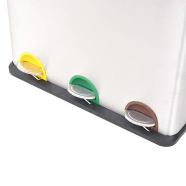 vidaXL Pedálový odpadkový kôš na triedený odpad, nerezová oceľ, 3x18 l[3/5]