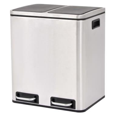 vidaXL Cubo de reciclaje y basura con pedal acero inoxidable 2x15 L[1/5]