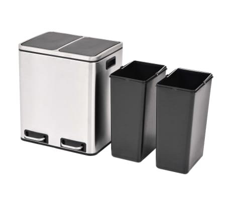 vidaXL Cubo de reciclaje y basura con pedal acero inoxidable 2x15 L[2/5]