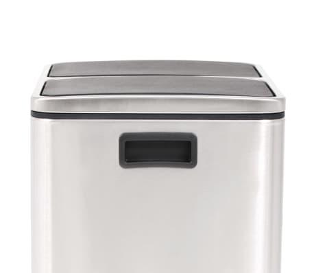 vidaXL Cubo de reciclaje y basura con pedal acero inoxidable 2x15 L[4/5]