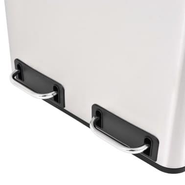 vidaXL Cubo de reciclaje y basura con pedal acero inoxidable 2x15 L[3/5]