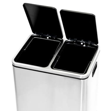 vidaXL Cubo de reciclaje y basura con pedal acero inoxidable 2x15 L[5/5]