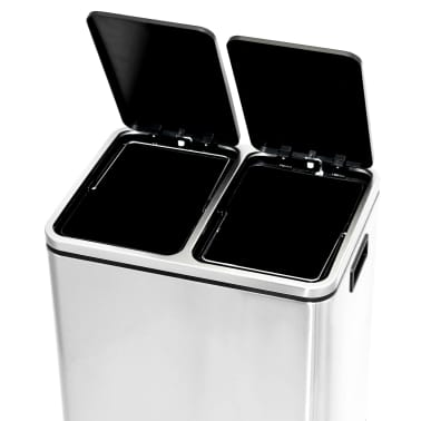 vidaXL Κάδος Απορριμμάτων / Ανακύκλωσης Διπλός 2x15 Λίτρα Ανοξ. Ατσάλι[5/5]