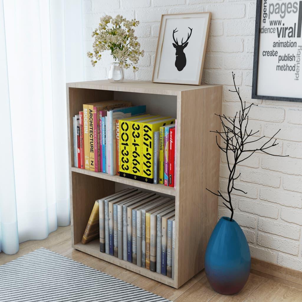 Knihovna, dřevotříska a dubové dřevo, 60x31x78 cm