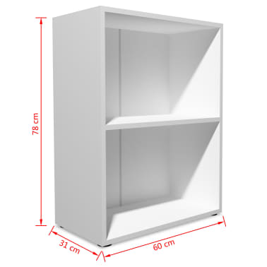 vidaXL Knygų lentyna, med. drožlių plokštė, 60x31x78cm, balta[4/5]