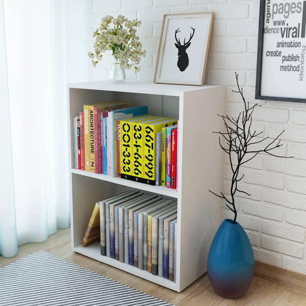 vidaXL Knihovna, dřevotříska, bílá, 60x31x78 cm