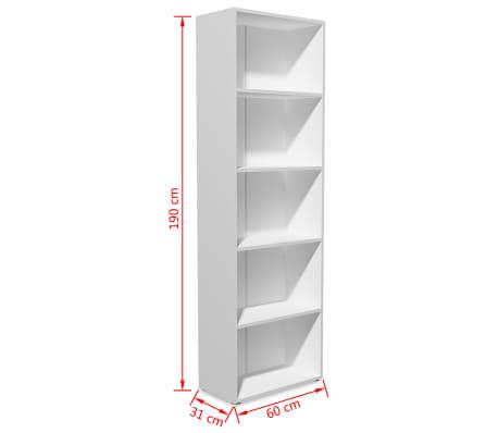 vidaXL boghylde spånplade 60 x 31 x 190 cm hvid[5/5]