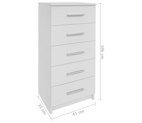 vidaXL Comodă înaltă cu sertare din PAL 41x35x108 cm Alb[6/6]