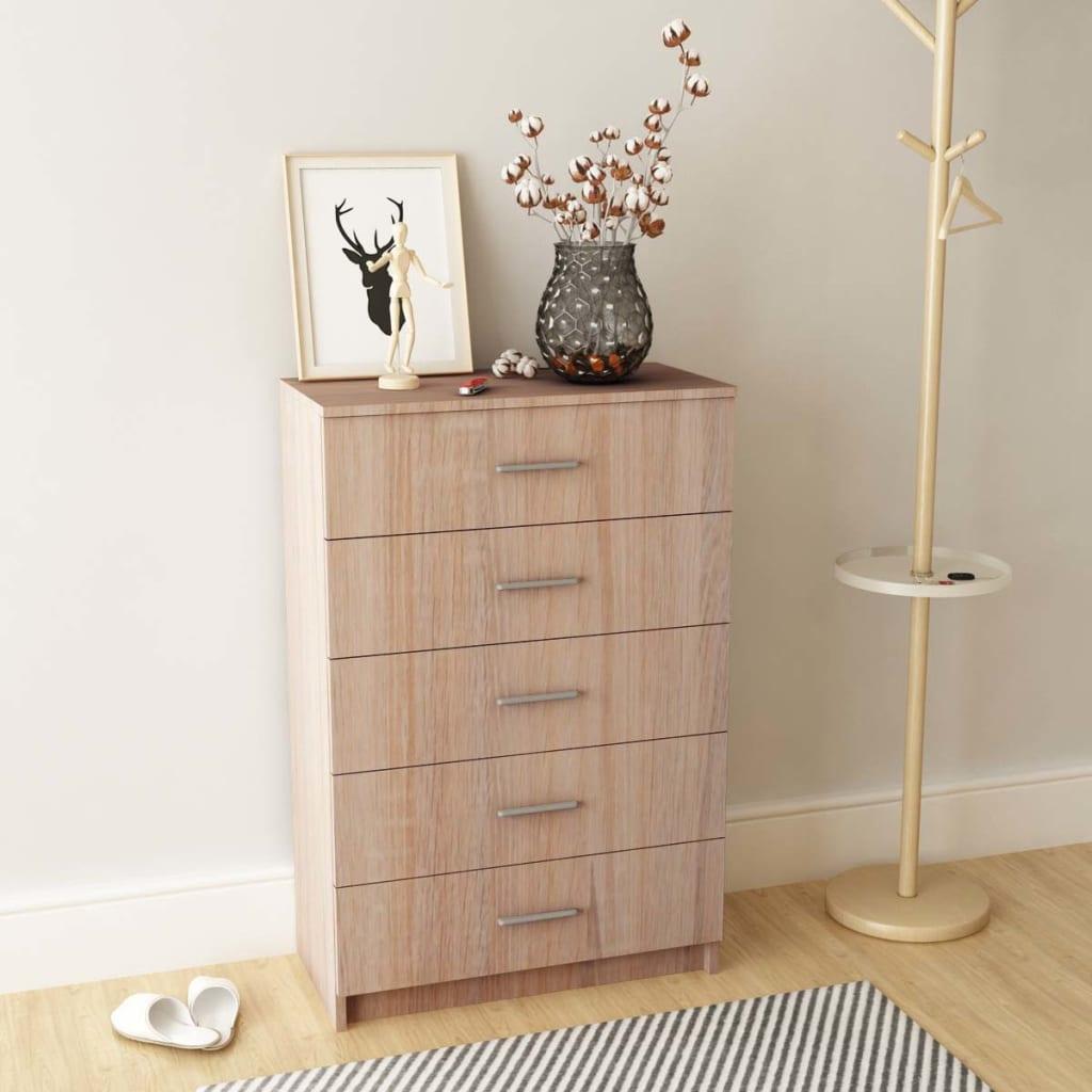 vidaXL Noční stolek, dřevotříska, dub, 71x35x108 cm