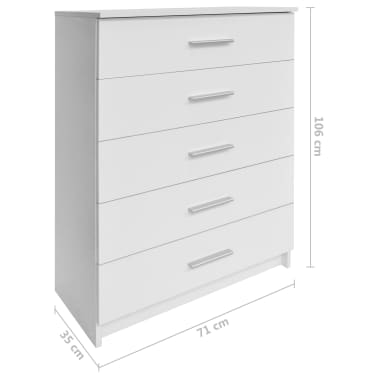 vidaXL Dulap de depozitare din PAL, 71 x 35 x 108 cm, alb[6/6]