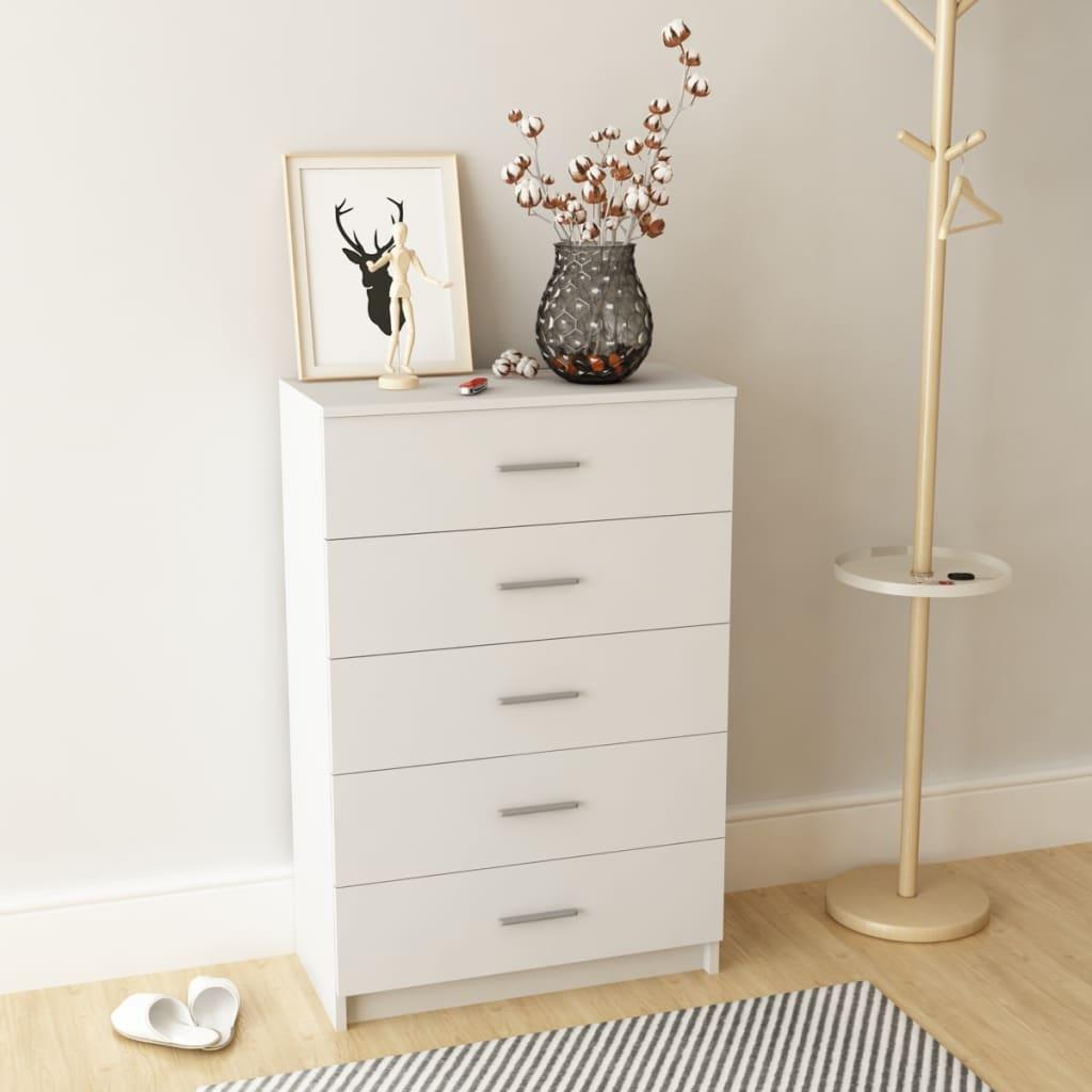 vidaXL Noční stolek, dřevotříska, bílá, 71x35x108 cm
