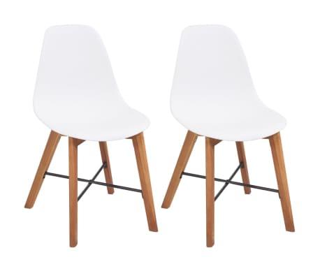 vidaXL Jedálenské stoličky 2 ks, biele, plast