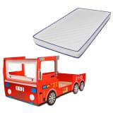 vidaXL Dětská postel požární auto s matrací z paměťové pěny 200x90 cm