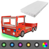 vidaXL Vaikiška lova ugniagesių mašina su čiužiniu, LED, 200x90cm