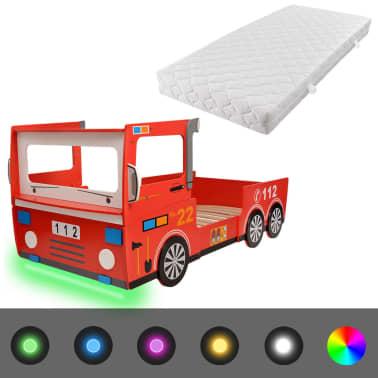 acheter vidaxl lit camion de pompier led pour enfants avec matelas 200 x 90 cm pas cher. Black Bedroom Furniture Sets. Home Design Ideas
