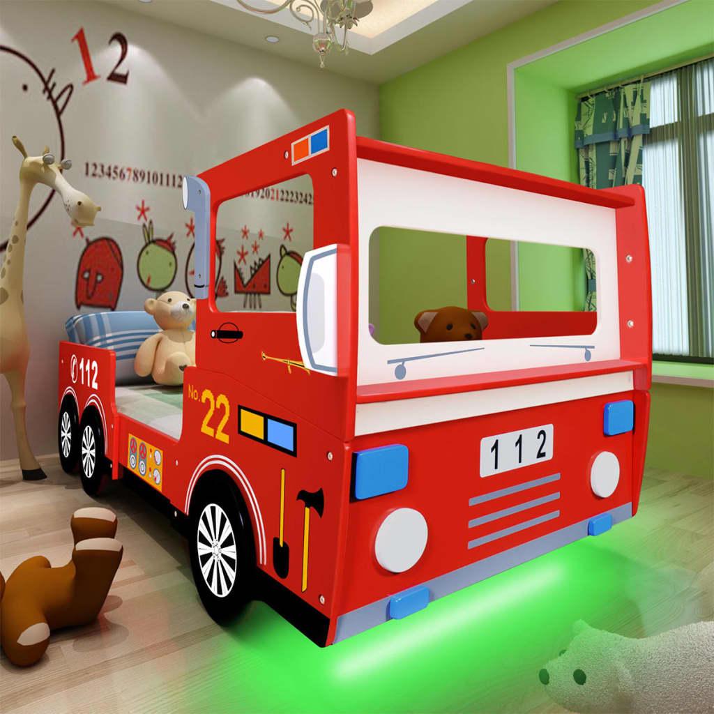 vidaXL Pat pentru copii, LED, model mașină pompieri, saltea 200x90 cm poza vidaxl.ro