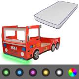 vidaXL LED Kinderbett Feuerwehr-Design mit Memoryschaum-Matratze
