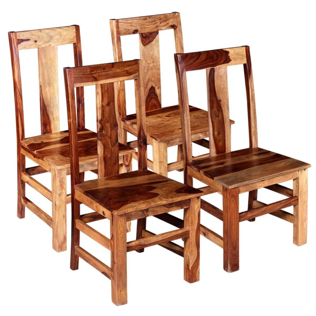 vidaXL Καρέκλες Τραπεζαρίας 4 τεμ. από Μασίφ Ξύλο Sheesham