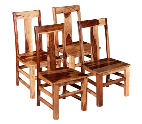 vidaXL Sillas de comedor de madera maciza de sheesham 4 unidades