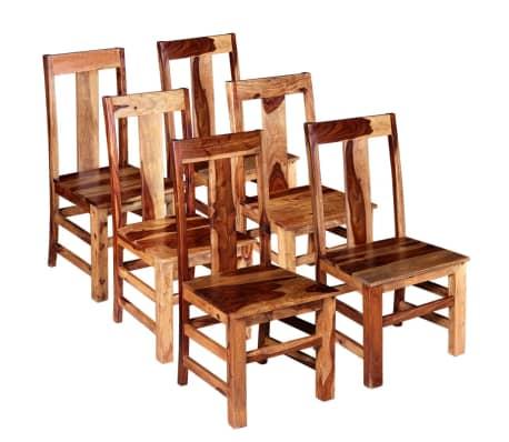 vidaXL Трапезни столове, 6 бр, масивно шишамово дърво