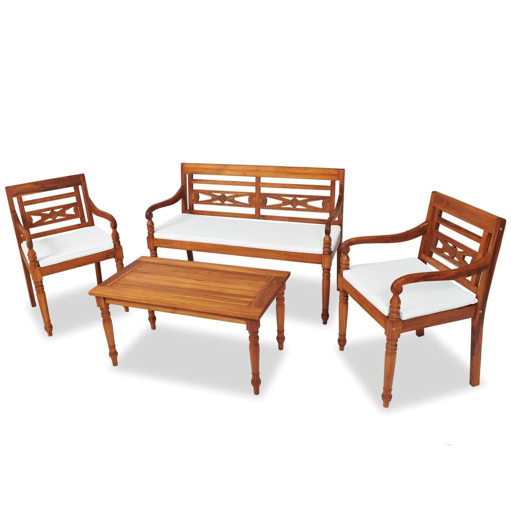 vidaXL Set mobilier de grădină cu perne, 4 piese, lemn masiv de tec poza 2021 vidaXL