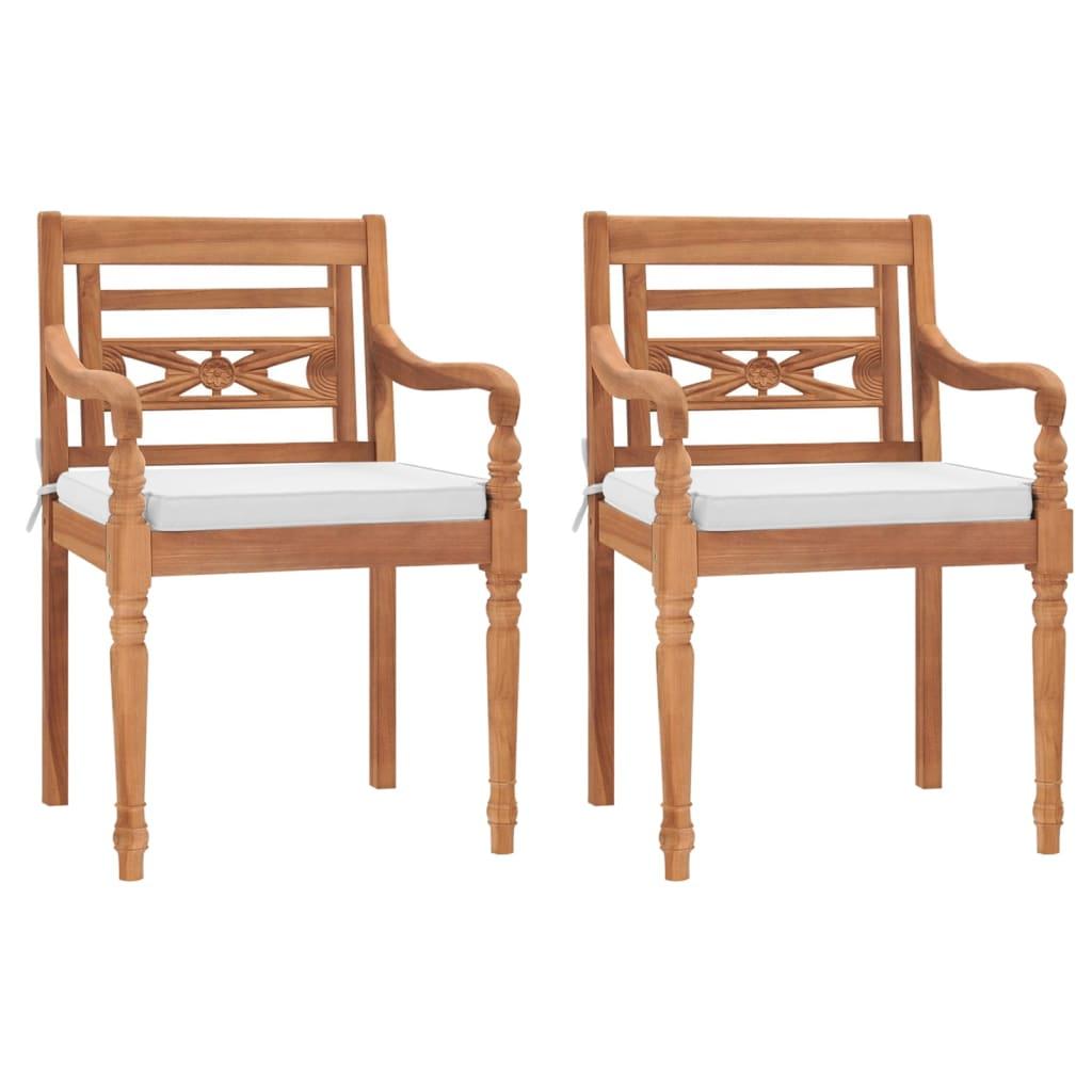 vidaXL Krzesła Batavia z poduszkami, 2 szt., lite drewno tekowe