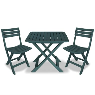 vidaXL Garden Bistro Set 3 Pieces Plastic Green[1/9]