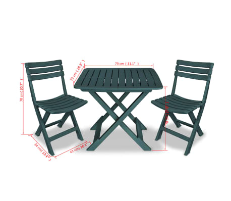 vidaXL Garden Bistro Set 3 Pieces Plastic Green[9/9]