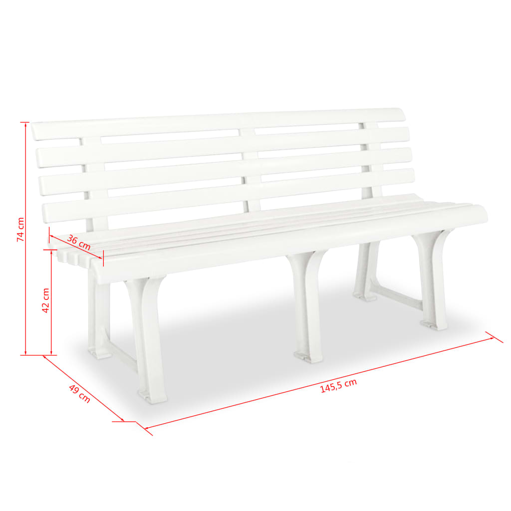 Picture of: Garden Patio Furniture Plastic Garden Bench 145 5x49x74 Cm White Outdoor Patio Seat Weather Resistant Kisetsu System Co Jp