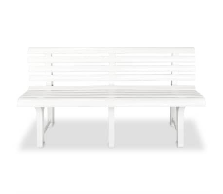 vidaXL Gartenbank 145,5 x 49 x 74 cm Kunststoff Weiß[2/6]