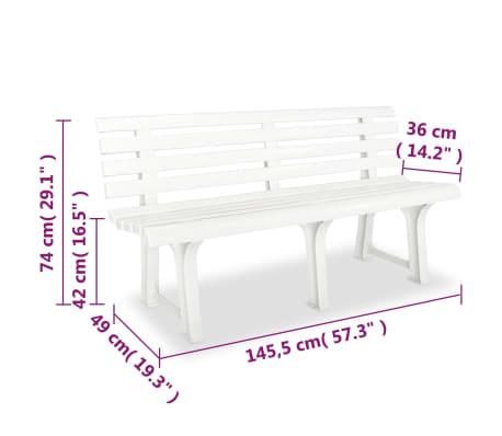 vidaXL Gartenbank 145,5 x 49 x 74 cm Kunststoff Weiß[6/6]