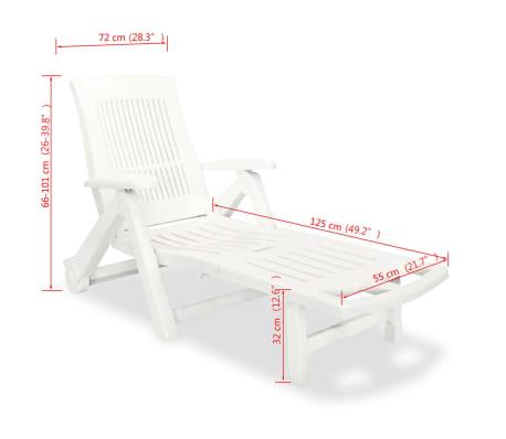 acheter vidaxl chaise longue avec repose pied plastique blanc pas cher. Black Bedroom Furniture Sets. Home Design Ideas