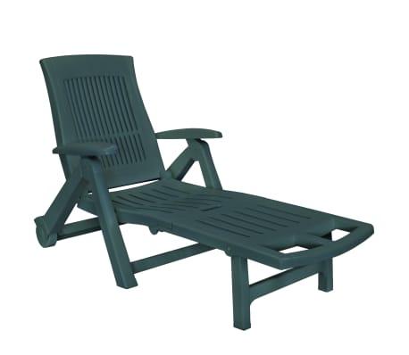 vidaXL Șezlong de plajă cu suport picioare, verde, plastic
