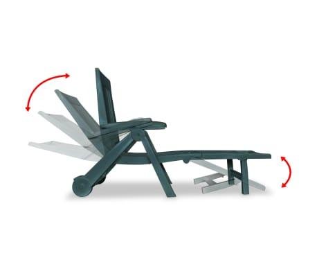 acheter vidaxl chaise longue avec repose pied plastique vert pas cher. Black Bedroom Furniture Sets. Home Design Ideas