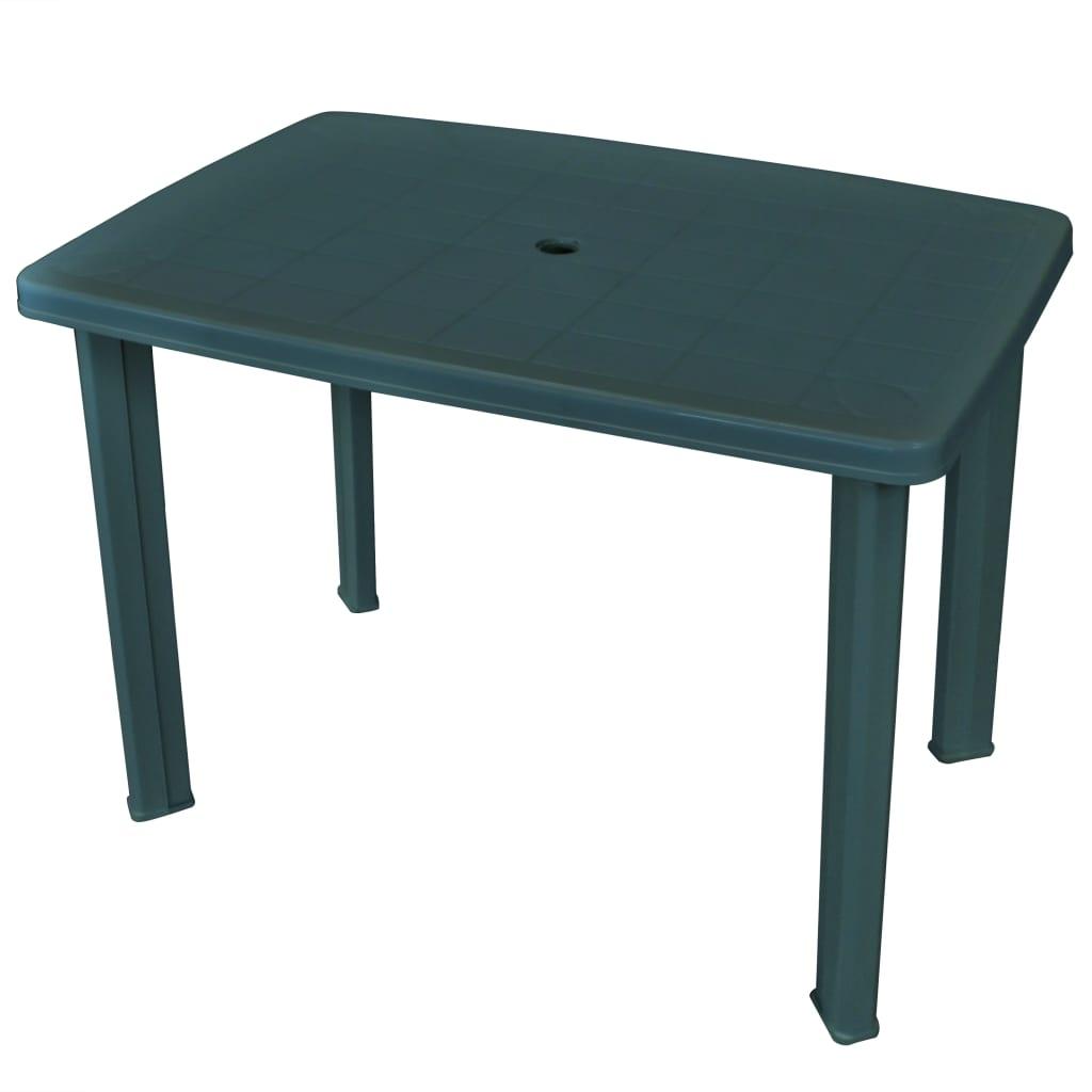 vidaXL Stół ogrodowy, zielony, 101 x 68 x 72 cm, plastikowy