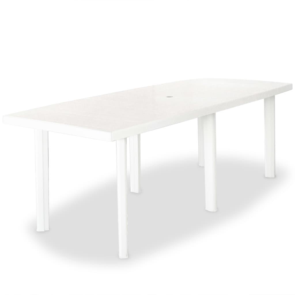 vidaXL Stół ogrodowy, biały, 210 x 96 x 72 cm, plastikowy