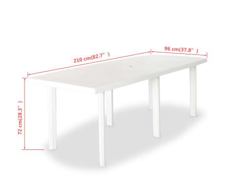 vidaXL Sodo stalas, 210x96x72cm, plastikas, baltas[5/5]