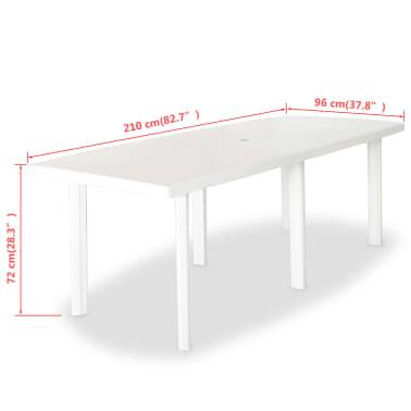 acheter vidaxl table de jardin 210 x 96 x 72 cm plastique blanc pas cher. Black Bedroom Furniture Sets. Home Design Ideas