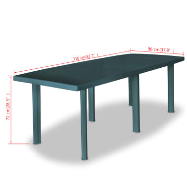Vidaxl tavolo da giardino 210x96x72 cm in plastica verde - Tavolo da giardino in plastica ...