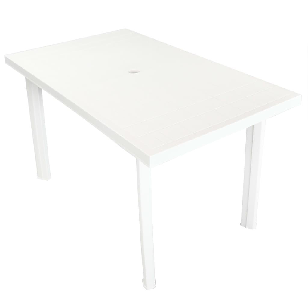 vidaXL Stół ogrodowy, biały, 126 x 76 x 72 cm, plastikowy