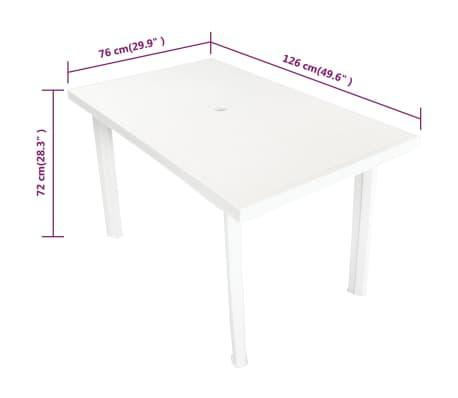 vidaXL Sodo stalas, 126x76x72cm, plastikas, baltas[5/5]