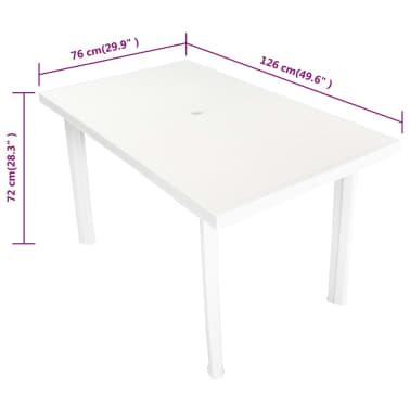 acheter vidaxl table de jardin 126 x 76 x 72 cm plastique blanc pas cher. Black Bedroom Furniture Sets. Home Design Ideas