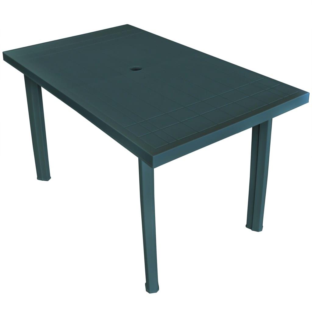 vidaXL Stół ogrodowy, zielony, 126 x 76 x 72 cm, plastikowy